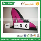 Hot Pink Black High Heel Shoe shape Wood Perpetual Calendar