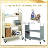 stainless steel library trolley/V-style Library Book Cart with Wheels/ furniture rolling book cart
