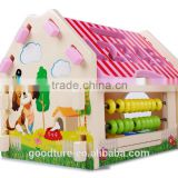 Wooden Construction House Intelligent Number And Shape Box Abacus Calclation Assembling Room