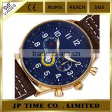 blue face dial multifunction leather strap blue collection watch steel