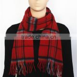 Red Yarn Dyed Checked Pure Wool Scarf with fringe