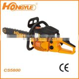 Gasoline cylinder chain saw new oil pump 58CC chain saw CS5800 for sale
