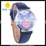 WJ-5312 hot sale fat cat face cute charming leather quartz fashion stainless steel back watch