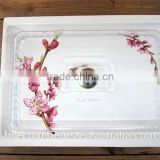 DFC ceramic rectangle cake plate with plastic cover