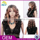 China supplier cheap brown kinky high density synthetic ombre curly wigs