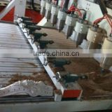 eight heads 4 axises wood CNC 3D engraving machine Ncstudio control 4.5KW Delta Servo motor square guide