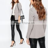 Fashion autumn coat chiffon single breasted smart lady silver tailored suits blazer