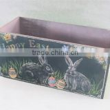 Easter Wooden rabbit fruit box easter gifts container and egg printing for home decoration on desk