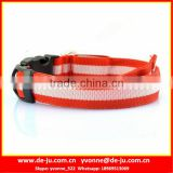 Orange White Polyester Strip Dog Collars Wholesale Led