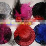 fashion party decoration mini flower hat/sinamay ladies feather hats/church hats