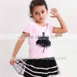 OEM pajama kids clothing sets children's clothing girls high quality tops + skirt sets