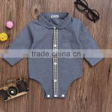 Amazon hot selling boys clothes cotton linen polo collar long sleeves comfortable custom baby romper
