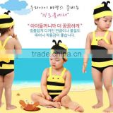 Wholesale super cute little Bee children baby swimsuit kids A one-piece bathing suit baby boys and girls swimwear send cap