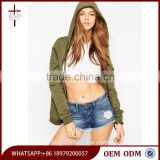High Quality Zip Through Front Autumn Wear Women Fashion Hoody Drawstring Style