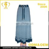New summer beautiful midi casual blue printed cotton women african bollywood skirts Image