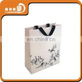 white ribbon customized luxury paper shopping bag