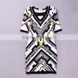 2015 New Sey Deep V-neck Patchwork Geometric Print Autumn Short Sleeve Lace Mesh red yellow blue black white gray Bandage Dress