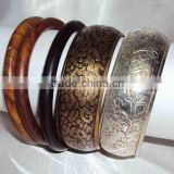 2015 Designer Women Bangles Set of Wood And Engraved Brass Bangles Set of 5 Pieces 10278
