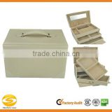 Custom luxury leather jewelry display case,travel jewelry case with mirror and lock,light gold leather jewelry gift box