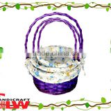 cheap wholesale baskets,bulk wicker baskets,wicker easter baskets,set of 3 purple willow&woodchip basket