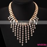Luxurious Long Chain Jewelry Gold Necklace Costly Golden Tassels With Diamond Necklace                                                                         Quality Choice