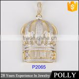 China jewelry factory suply men's crown pendant 925 Sterling Silver White Diamond pendant