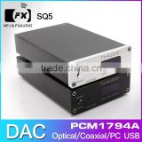 FX-Audio DAC-SQ5 HIFI 2.0 audio digital decoder amplifiers USB DAC / fiber / coax / USB input / PCM1794