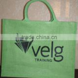 Green color Jute bag with natural cord handle