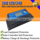 20A 12V/24V solar battery charge regulator/controller with LCD display and parameter setting button and USB