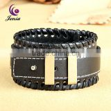 Jenia2016 With Heart Charm Alloy Clasps Men Wrap Leather Bracelet