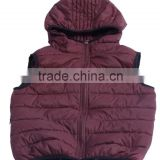 kids padding winter vest with brown color