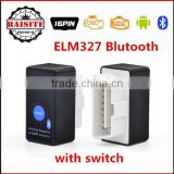 2016 Best Selling Super Mini ELM327 with switch ELM 327 Bluetooth OBD2 OBD II CAN-BUS Diagnostic Tool + Switch Works on Android