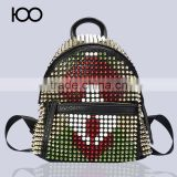 Genuine Leather Patchwork Rivet Cross Ladies Backpack Bag Guangzhou Backpack Manufacture