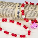 White&red Candy Beads+Bear Pendant Necklace, Fashion Pet Accessories 1/3