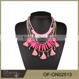 China Suppliers Sell African Latest Design Beads Tassel Necklace Costume Statement Glass Beads Jewelry