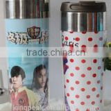 2015 Hot sale Customed Double wall starbucks plastic mug/Portable double wall plastic cup with inserting paper