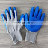 cheap 50g 13 gauge gray nylon gloves core blue latex coated work gloves with wrinkle on the palm