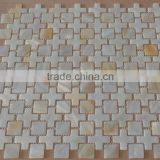 New Arrive special cross-shaped pattern Chinese river shell mosaic murals,shell mosaic tile