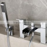 Waterfall Open Spout Square Bath Shower Mixer Taps UK Style(Q14401)