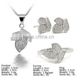 [SZ5-0014] 925 Silver Jewelry Set with CZ Stones, Jewelry Set with Pearl, silver set with cz stone, 925 silver china cz set