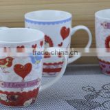 11OZ love bird design full decal print coffee cups, shiny surface porcelain mug, KL5004-A427