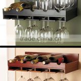 2015 original Bamboo 5 bottle Wine Rack original design bamboo/wood wine display rack wine stand wholesale with glass holder