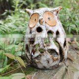 Ceramic material owl bird statues for garden decoration