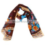2015 Fashionable Hot sale Butterfly and Flower Printing Chiffon Scarf for Whole sale and
