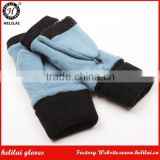 Ladies Bestselling Cheap Flip Top Fingerless Wool Gloves with Knitted Cuff; Half-Finger Woolen Mittens; Blue Flip Flap Warmers