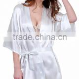 White Short Women Bridesmaid Satin Kimono Bath Robes