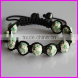 KJL-BD5144 Newest style! Wholesale of agate faceted Football Beads Pave bracelet handmade macrame bracelet