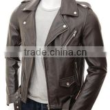 2014 Stand collar man leather jacket with snap buttons