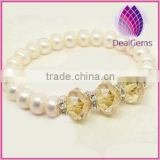 Bracelet, stretch, cultured freshwater pearl and Chinese crystal rhinestones with citrine ,white, 7-8mm potato, 7 inch.