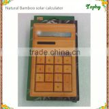Wholesale - 2015 New hot selling 12 digits Handmade Natural Bamboo Wooden Solar Calculator